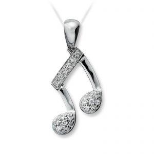 Mestergull Fint anheng note i hvitt gull med diamanter MG DIAMONDS Anheng