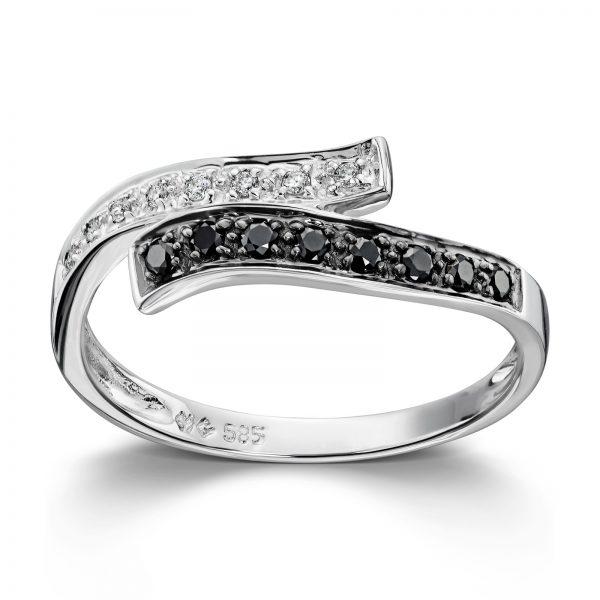 Mestergull Lekker ring i hvitt gull med sorte og hvite diamanter MG DIAMONDS Ring