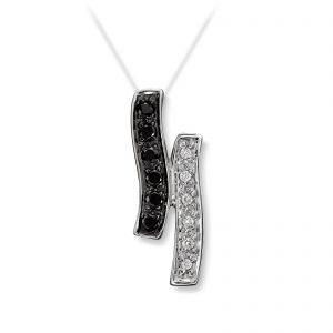 Mestergull Lekkert anheng i hvitt gull med sorte og hvite diamanter MG DIAMONDS Anheng