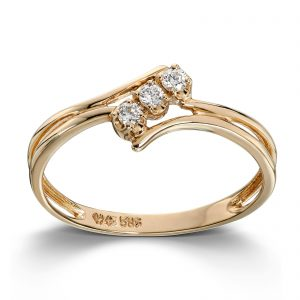 Mestergull Flott ring i gult gull med diamanter MG DIAMONDS Ring
