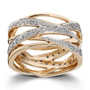 Mestergull Lekker ring i gult gull med diamanter MG DIAMONDS Ring