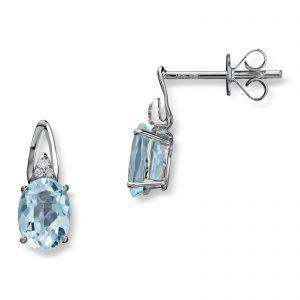 Mestergull Lekker ørepynt i hvitt gull med diamanter og blå topas MG DIAMONDS Ørepynt