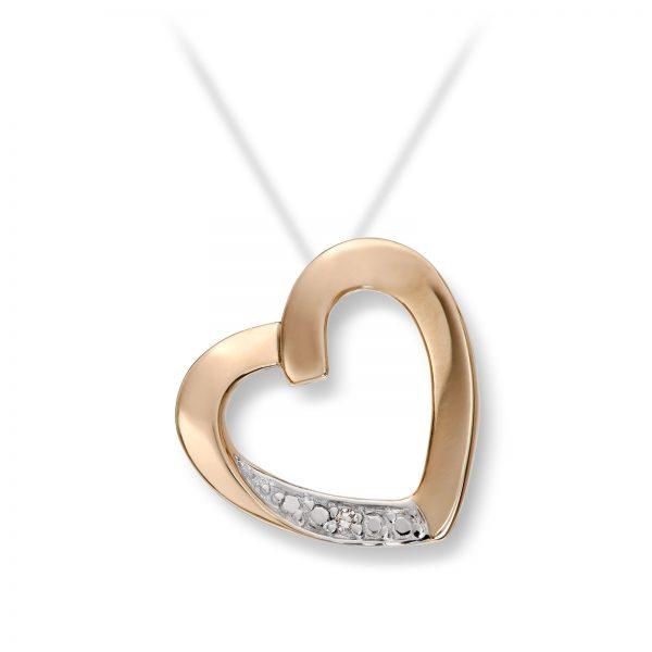 Mestergull Flott hjerteanheng i gult gull med diamanter MESTERGULL Anheng