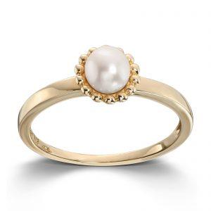 Mestergull Delikat ring i gult gull med ferskvannsperle MESTERGULL Ring