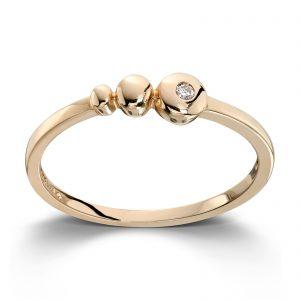 Mestergull Delikat og trendy ring i gult gull med 1 diamant MESTERGULL Ring