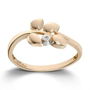 Mestergull Moderne ring i gult gull med 1 diamant MESTERGULL Ring