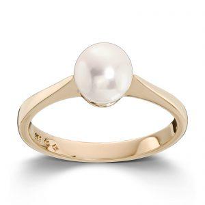 Mestergull Klassisk ring i gult gull med ferskvannsperle MESTERGULL Ring