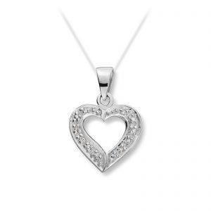 Mestergull Elegant hjerteanheng i hvitt gull med diamanter MG BASIC Anheng