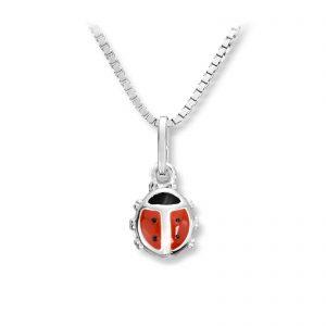 Mestergull Flott marihøneanheng i sølv med rød lakk MG BASIC Ørepynt
