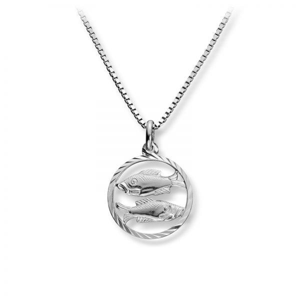 Mestergull Stjernetegn anheng i rhodinert sølv, Fiskene MG BASIC Tegn/Bokstav Anheng