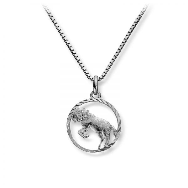 Mestergull Stjernetegn anheng i rhodinert sølv, Væren MG BASIC Tegn/Bokstav Anheng