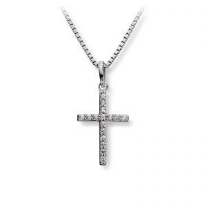 Mestergull Flott anheng kors i rhodinert sølv med cubic zirkonia MG BASIC Anheng
