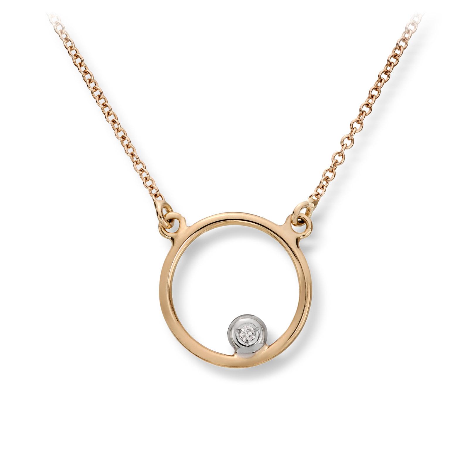 Mestergull Flott kjede sirkel i gull med diamant MESTERGULL Kjede