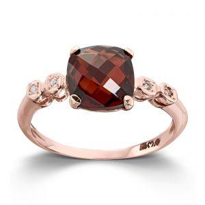 Mestergull Elegant ring i rødt gull med granat og diamanter MG DIAMONDS Ring