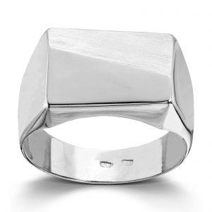 Mestergull Enkel signetring i hvitt gull MESTERGULL Ring