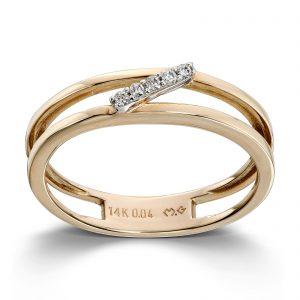 Mestergull Flott ring i gult og hvitt gull med diamanter MESTERGULL Ring