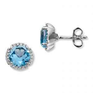 Mestergull Elegant ørepynt i hvitt gull med diamanter og blå topas MG DIAMONDS Ørepynt