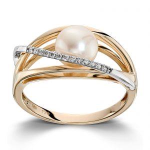 Mestergull Fin ring i tofarget gull med diamanter og ferskvannsperle MG DIAMONDS Ring