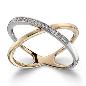 Mestergull Trendy ring i tofarget gull med diamanter MG DIAMONDS Ring