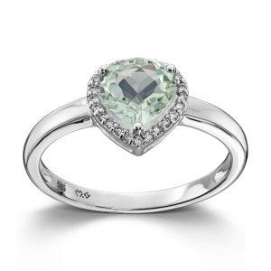 Mestergull Lekker ring i hvitt gull med diamanter og prasiolitt MG DIAMONDS Ring