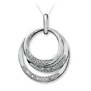 Mestergull Elegant anheng sirkel i hvitt gull med diamanter MG DIAMONDS Anheng