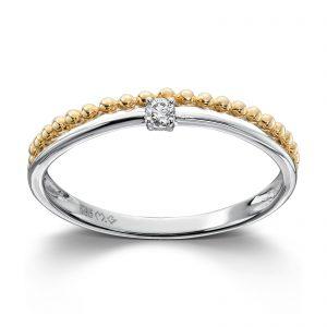 Mestergull Flott ring i hvitt og gult gull med diamant MG DIAMONDS Ring