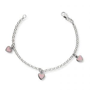Mestergull Barnearmbånd i sølv med rosa hjerter i emalje MG BASIC Armbånd