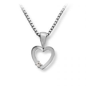 Mestergull Enkelt hjerteanheng i rhodinert sølv med cubic zirkonia MG BASIC Anheng