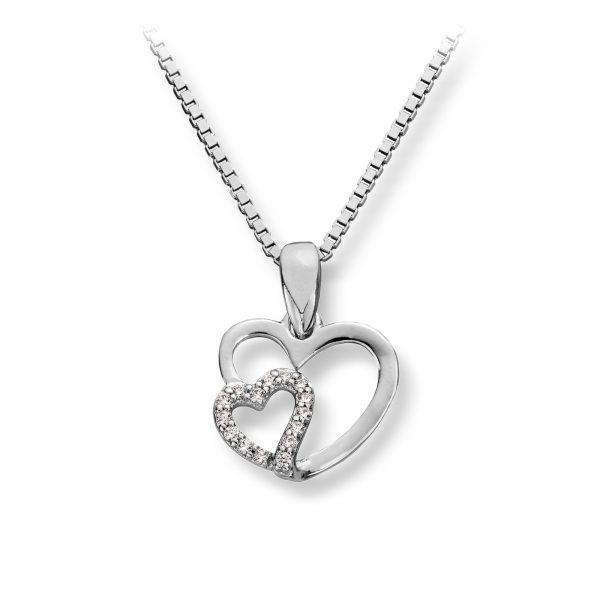 Mestergull Flott hjerteanheng i rhodinert sølv med cubic zirkonia MG BASIC Anheng