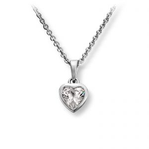 Mestergull Søtt hjerteanheng i rhodinert sølv med cubic zirkonia MG BASIC Anheng