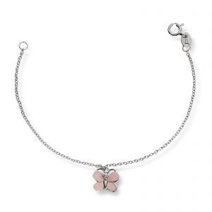 Mestergull Søtt armbånd i rhodinert sølv med sommerfulg i rosa emalje MG BASIC Armbånd