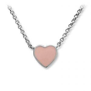 Mestergull Søtt kjede i rhodinert sølv med hjerte i rosa emalje MG BASIC Anheng
