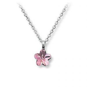 Mestergull Søtt anheng i rhodinert sølv med rosa swarovski krystall MG BASIC Anheng