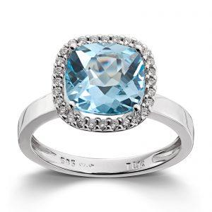 Mestergull Delikat ring i hvitt gull med diamanter og blå topas MG DIAMONDS Ring