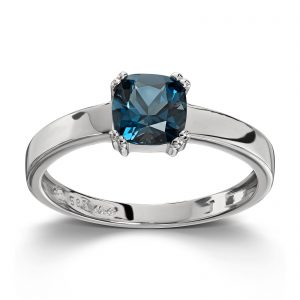 Mestergull Fin ring i hvitt gull med london blue topas MESTERGULL Ring