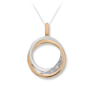 Mestergull Flott anheng sirkel i gult gull med diamanter MESTERGULL Anheng