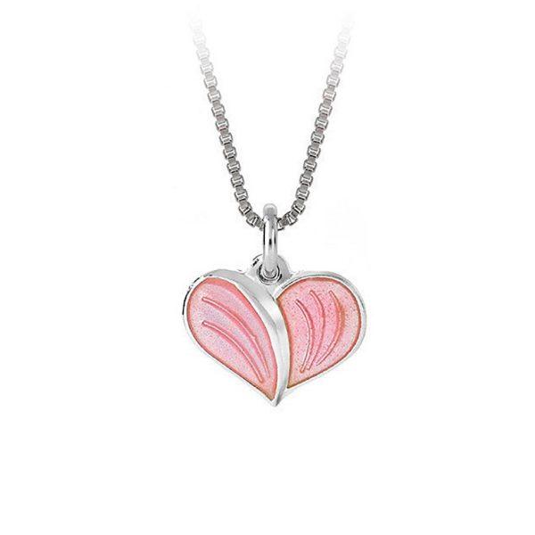 Mestergull Anheng i sølv med hjerteform og emalje i rosa PIA & PER Anheng