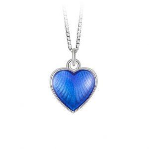 Mestergull Sølv hjerte anheng med blå emalje PIA & PER Anheng
