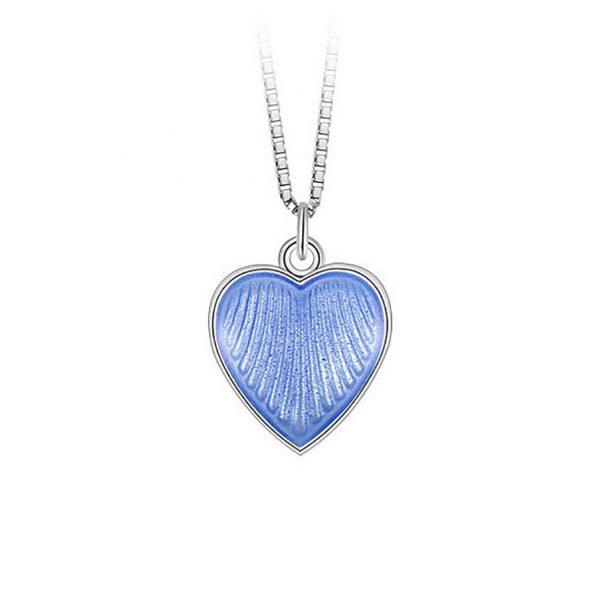 Mestergull Anheng i sølv med hjerteform og lys blå emalje PIA & PER Anheng