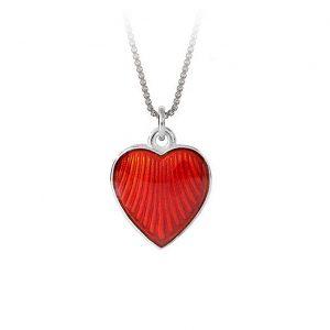 Mestergull Anheng i sølv med hjerteform og rød emalje PIA & PER Anheng