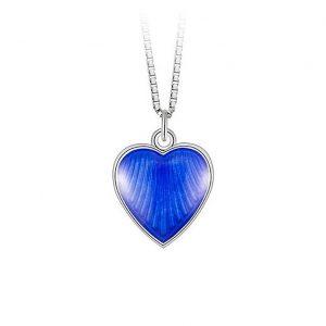Mestergull Anheng i sølv med hjerteform og blå emalje PIA & PER Anheng
