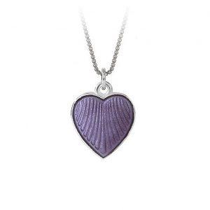 Mestergull Anheng i sølv med hjerteform og lilla emalje PIA & PER Anheng