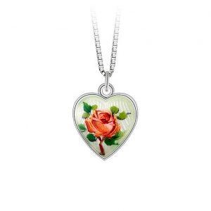 Mestergull Anheng i sølv med hjerteform og roseblomst i emalje PIA & PER Anheng
