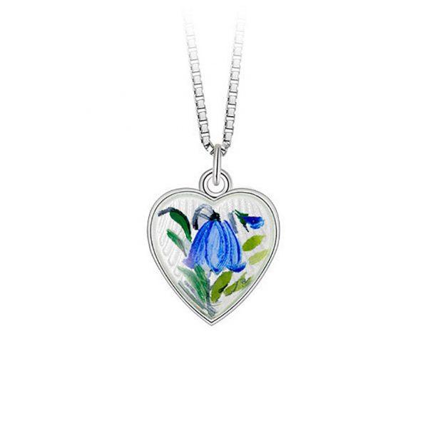 Mestergull Anheng i sølv med hjerteform og blåklokke i emalje PIA & PER Anheng