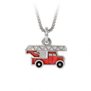 Mestergull Anheng til gutt med rød brannbil i sølv og emalje PIA & PER Anheng