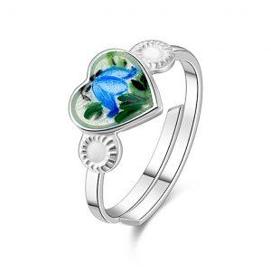 Mestergull Sølv ring regulerbar med emaljert blåklokke PIA & PER Ring