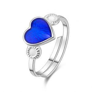 Mestergull Regulerbar barnering i sølv med hjerte i blå emalje PIA & PER Ring
