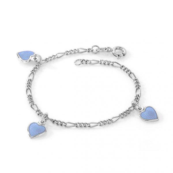 Mestergull Sølv armbånd til barn med charms i lys blå emalje PIA & PER Armbånd