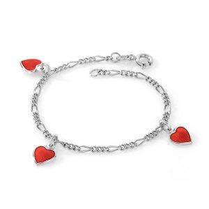 Mestergull Sølv armbånd til barn med charms i rød emalje PIA & PER Armbånd