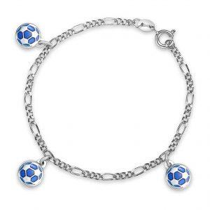 Mestergull Armbånd til gutt med fotballer i blå emalje PIA & PER Armbånd